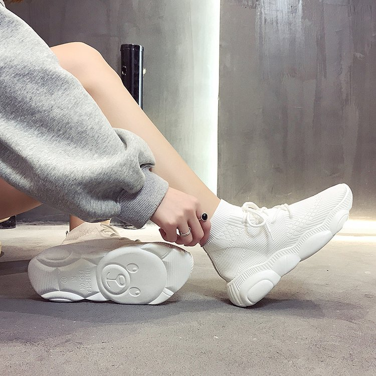 Female High Top White Sneakers Women Knitting Shoes Spring Summer Casual Mesh Thick Sole Fashion Footwear