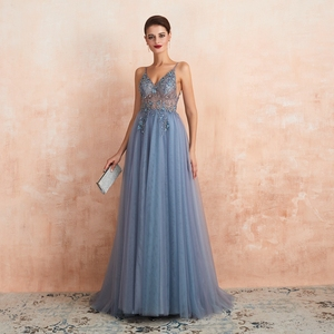 Image 5 - Pink Formal Party A Line Split Prom Dresses 2020 Blue Beaded Crystal Sleeveless Spaghetti Straps vestidos de gala Evening Gowns