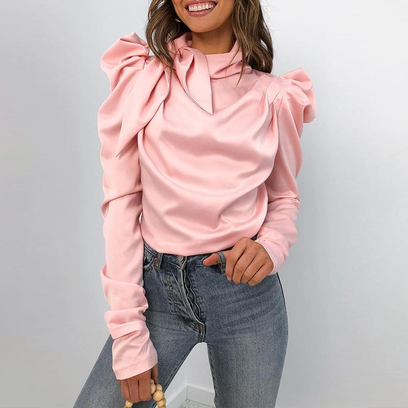 Women New Puffed Sleeve Pleated Top And Blouses Long Sleeve Autumn Pink Slim Sexy Elegant Shirt Blusas Mujer De Moda 2019