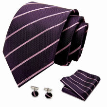 Classic Fashion Silk Tie Pink striped Necktie For Man Business Party Wedding Formal 7.5cm slim tie set(China)