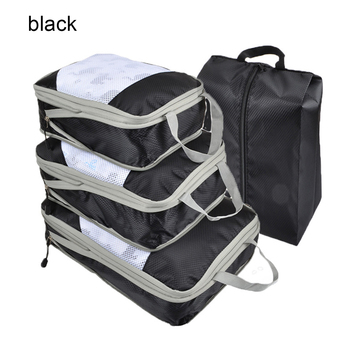 4Pcs Compression Packing Cube Travel Luggage Organizer Foldable Nylon Waterproof Travel Bag Clothes Organizer Shoes Storage Bag