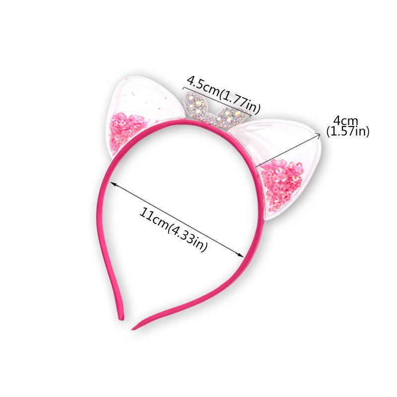 מבריק חמוד חתול אוזן סרט שיער קוריאני ילדי נסיכת תינוק סרט בנות שיער אביזרי חג המולד מפלגה מתנות