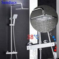 Comparar https://ae01.alicdn.com/kf/H6f603b86e29c41439595250271efff13H/Juego de ducha termostática de latón de Senducs calidad Sistema de ducha cromado de 38 grados.jpg