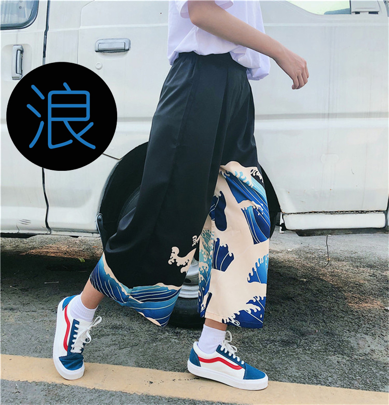 Ukiyo-e Japanese Harajuku Style Wide Leg Loose Pants Woman Kanagawa Print Trousers Men Casual High Waist Summer Streetwear HOT