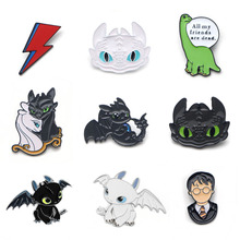 цена V120 How to Train Your Dragon Metal Enamel Pins and Brooches For Women Men Lapel Pin Backpack Bags Badge Collection Gifts 1PCS онлайн в 2017 году