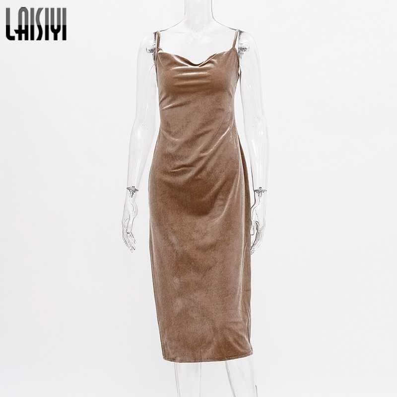 LAISIYI 女性秋冬ドレス固体ノースリーブベルベットドレス新セクシーな V ネックローカットバックスリットドレス Vestidos ASDR22641