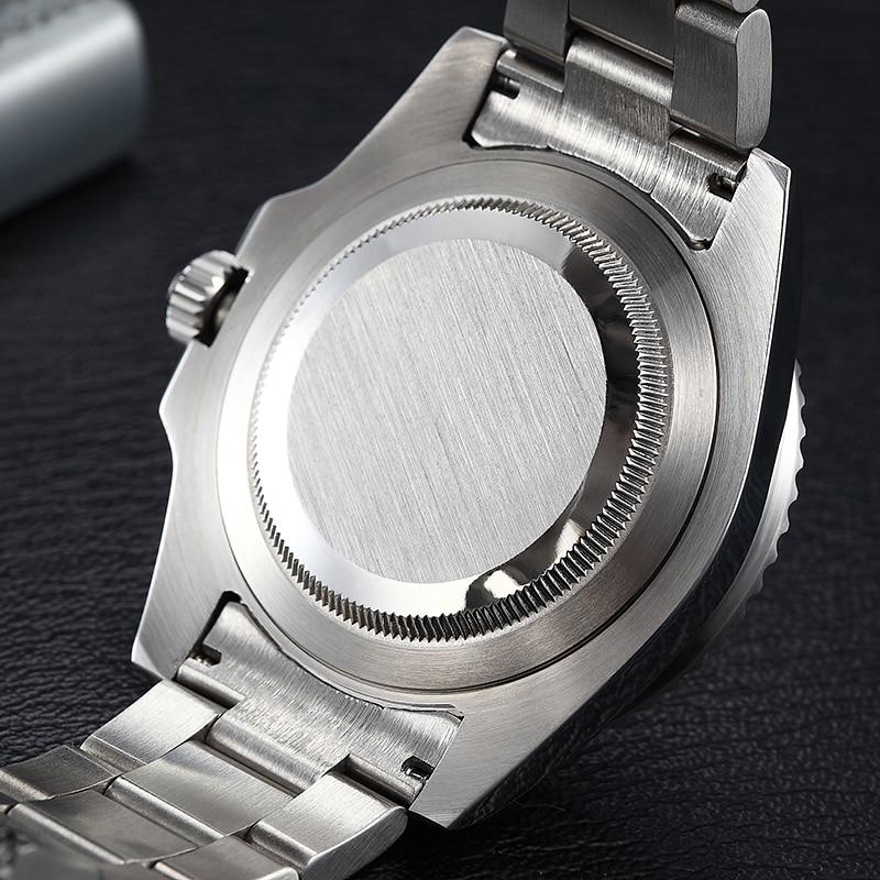 Parnis 40mm preto azul bezel relógios mecânicos