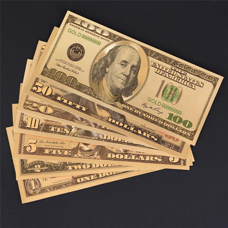Dólares Decoração Antigo Banhado A Ouro Lembrança Coleção Dinheiro Falso 7 pçs/set 1 2 5 10 20 50 100 Europa As Pessoas de Metal