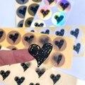 100 шт. Стикеры s «любящее сердце» черный ручная роспись diy прозрачный белый уплотнение Стикеры теплые фольга золотая, серебряная 35 мм