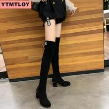 Thigh high boots female winter over the knee flat stretch sexy fashion shoes 2019 black thick with