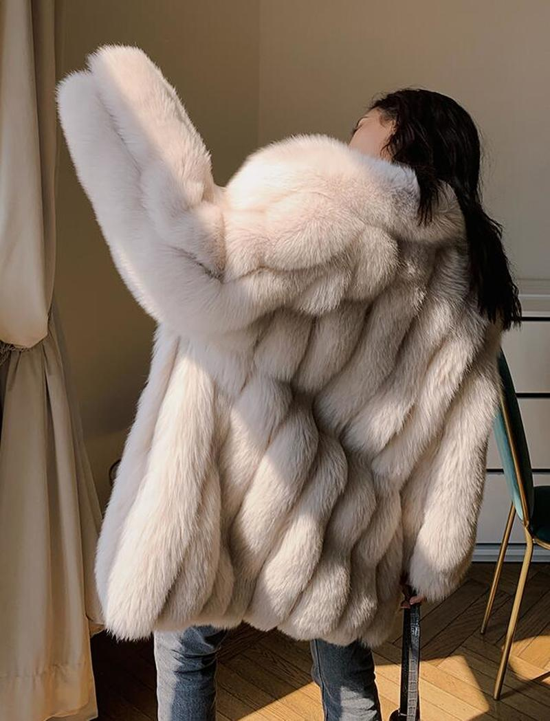 Роскошное женское 2019 зимнее пальто из натурального Лисьего меха, утолщенная теплая длинная парка, пальто, 100% натуральное меховое пальто, ку... - 3