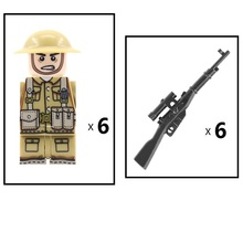 ww2 Soviet British Army Soldier Gun MOC SWAT City Police military weapons figures Accessories Building Block Brick mini toys