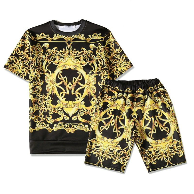 2019 Summer New Style Europe And America Teenager Men Cool Gold Flower Glyph Printed Popular Short Sleeve T-shirt Two-Piece Set