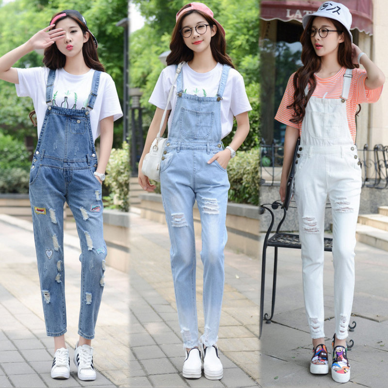 Y646 new style women's   jeans   Spring casual hole overalls   jeans   high quality