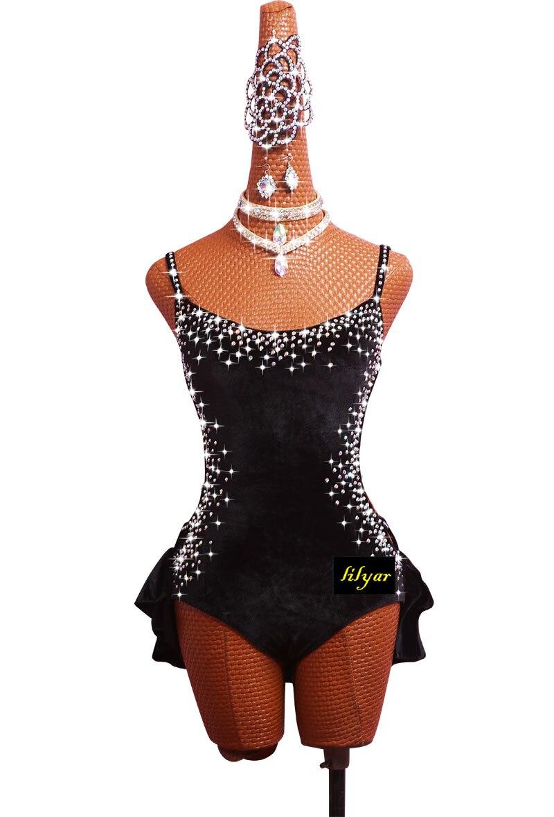 Latin Dance Costume Performance Dress Sasa Dance SALSA Jumpsuit Black Sexy Tie #LD0076