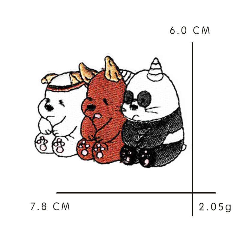 고양이 팬더 곰 동물 패치 꽃 스티커 Diy 다리미 의류 열전달 Applique 수 놓은 응용 프로그램 천 패브릭
