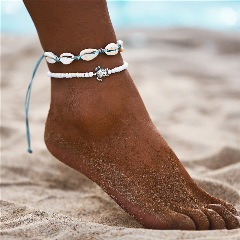 2020 New Fashion Bohemian Shell Anklets for Women Rope Bracelet on Leg Conch Adjustable Chain Anklet Beach Foot Jewelry