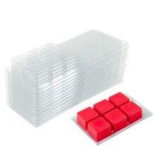 A cera do derretimento de 50 pces 25 pces molda o quadrado, 6 bandeja plástica clara do cubo da cavidade para a vela-fatura & o sabão