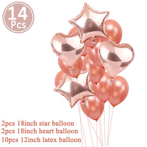 Image 5 - 14pcs Rose Gold Star Confetti Balloon Happy Birthday Decoration 1st First Birthday Boy Girl Party One Year Just Married Decor