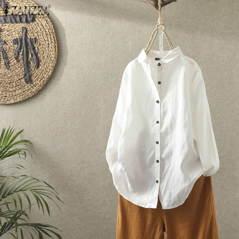 ZANZEA Spring Women Lapel Neck Long Sleeve Tops Casual Solid Shirt Vintage Cotton Linen Blouse Buttons Down Blusas Femininas