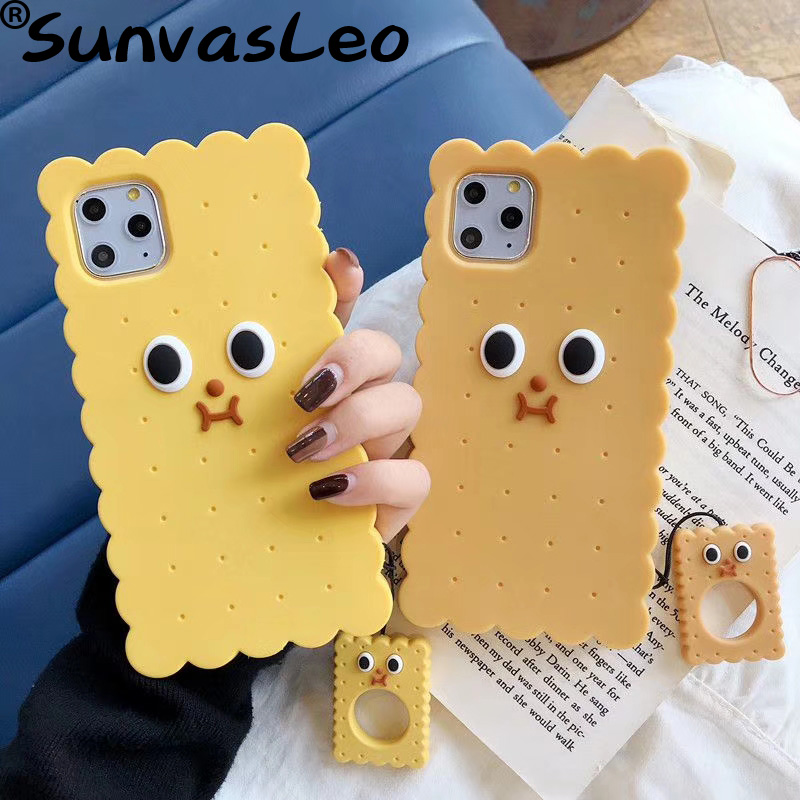 For iPhone 6 6s 7 8 Plus X XR XS Max For iPhone 11 11Pro 11 Pro Max 3D Cartoon Cookies Soft Silicone Case Phone Back Cover Shell