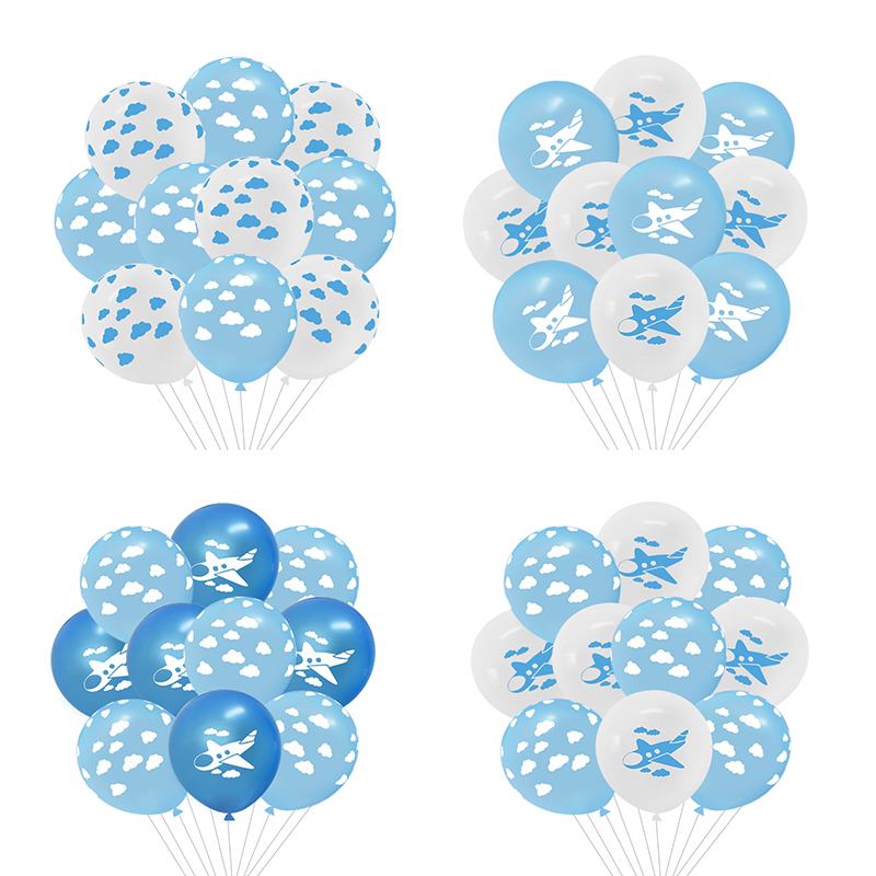 10Pcs/lot 12 inch Party Balloon Supplies Cute Cloud Airplane Printed Latex Globo Kids Toy Baby Shower Wedding Birthday Decor