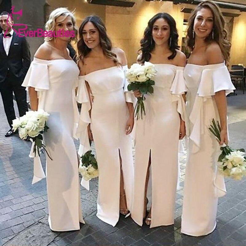 Vestido Madrinha Off the Shoulder   Bridesmaid     Dresses   Long 2020 Chiffon Wedding Guest   Dress   Side Slit Robe Demoiselle D'Honneur