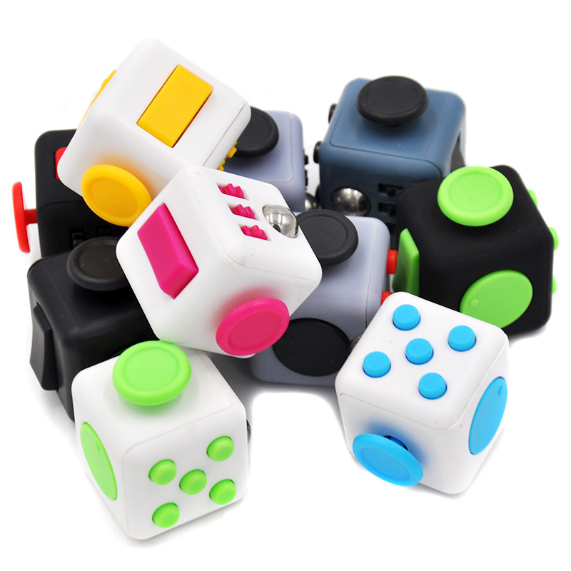 17 Colours Mini Magic Cube Desk FingerToy Keychain Squeeze Fun Stress Reliever Puzzle Magic Cube