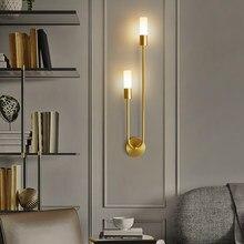 Lampada da parete a LED moderna lampade da lettura da comodino in ottone nordico camera da letto corridoio scale corridoio 2 teste staffa luce decorazione domestica