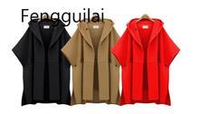 цены на Women Open Stitch Woolen  Hooded Cape Coat Winter Loose Street Cloak Coat Female Retro Womens Cape Poncho Femme 2019  в интернет-магазинах