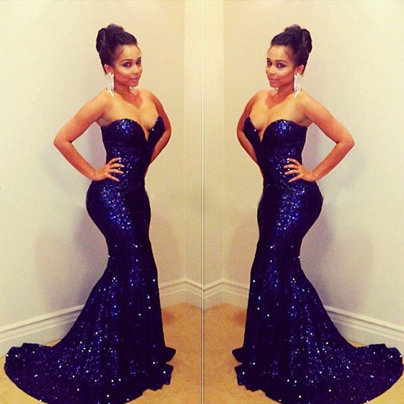 Fashion Off The Shoulder Sweetheart Heart Floor Length Long Sequin Beaded Royal Blue Mermaid Prom Gown 2018 Bridesmaid Dresses
