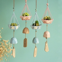 Forest Wind Chimes Wrought Iron Hanging Ornaments Resin Ceramic Craft Gift Home Decoration Art Pendant