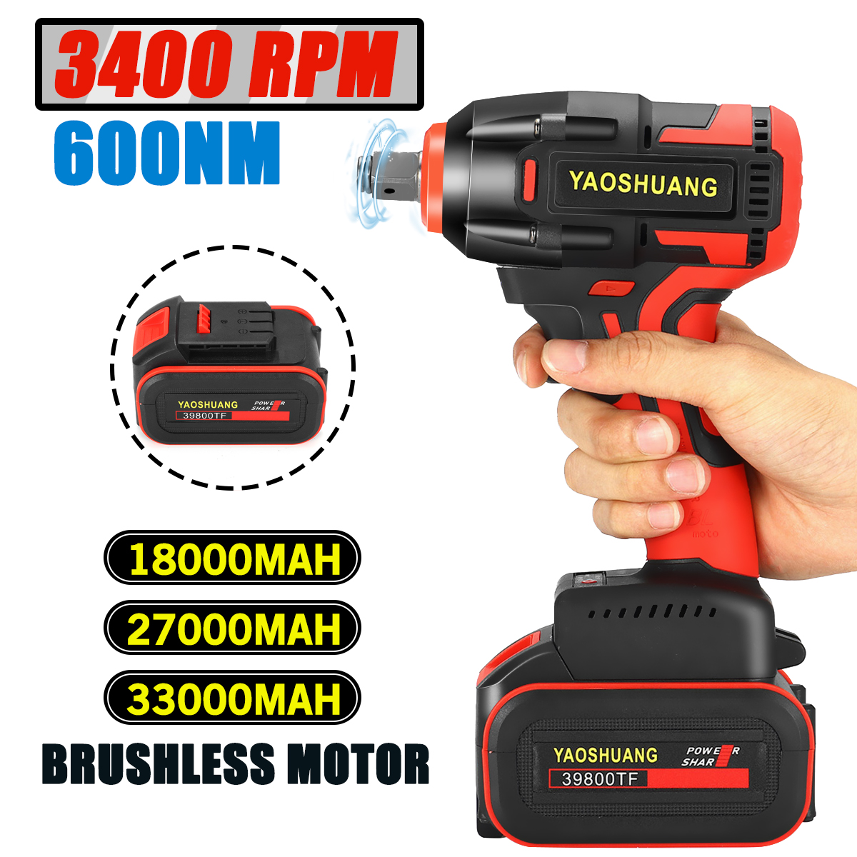 Doersupp Brushless Electric Wrench Impact Cordless Wrench Socket Wrench 220V/110V 33000mAh Screwdriver Hand Drill Motor Install