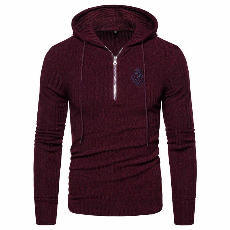 2020 뉴 스프린트 이글 자수 후드 풀오버 남성 지퍼 스웨터 남성 힙합 디자인 남성 스웻 셔츠 니트 스웨터 당겨 남자