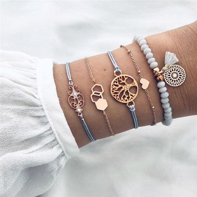 VAGZEB 5 pcs/set Gold Color Bohemian Tree Heart Charm Beads Bracelets Bangles for Woman