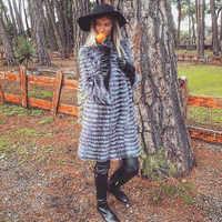 2019New Real Fox Animal Fur Weave Lightweight Fashion Luxury Warm Thick Animal Lady Coat Long Jacket Spring