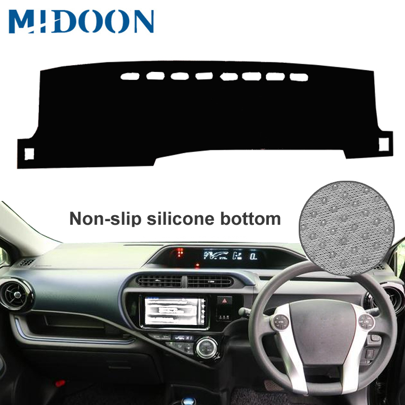 MIDOON Car Dashboard Cover Dash Mat Carpet Rug For Toyota Aqua Prius C 2011 - 2019  RHD Sunshade Auto Cape 20