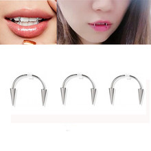 Tooth decoration new medical stainless steel C rod smile lip tiger tooth nail zombie tooth lace nail vampire piercing jewelry
