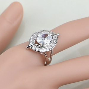 Image 5 - Natural 925 Sterling Silver Bridal Jewelry White Zircon Jewelry Sets For Women Wedding Earrings Pendant Necklace Rings Bracelet