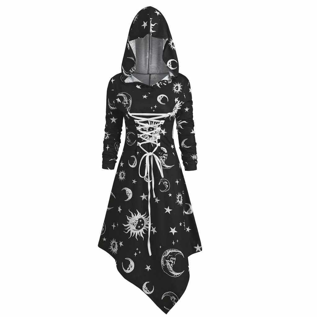 VINTAGE ไม่สมมาตรชุดผู้หญิง 2020 ฤดูใบไม้ร่วง Hoodies MIDI ชุดแฟชั่น Sun และ Moon พิมพ์ Hooded Dresses Vestido De Festa