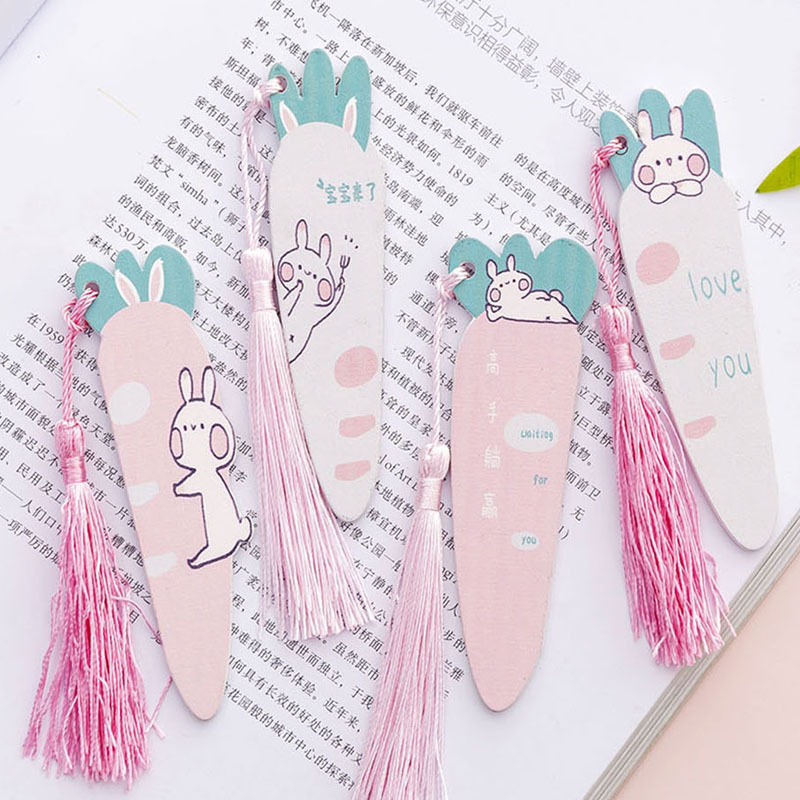 1PC Kawaii Carrot Rabbit Wood Ruler Cartoon Tassels Bookmark Creative Learn Drawing Straight Rule School Stationery Supplie Gift