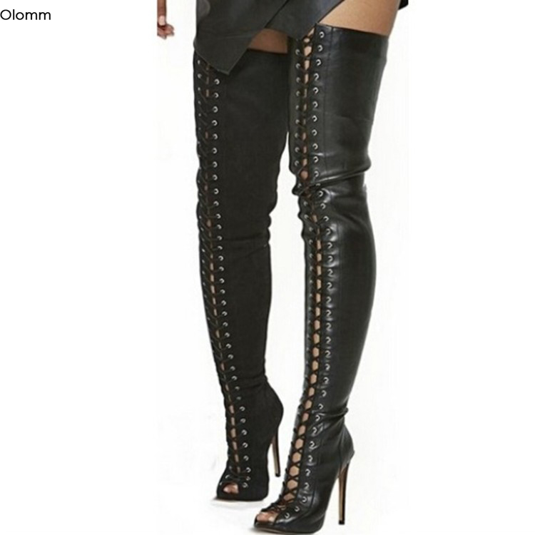 Olomm New Women Summer Over The Knee Boots Stiletto High Heels Boots Peep Toe Gorgeous Black Night Club Shoes Women US Size 5-15