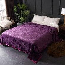 Blanket Living-Room Plain Flannel New Bed Soft Home Jacquard 200cmx220cm Embossed Elegant-Style