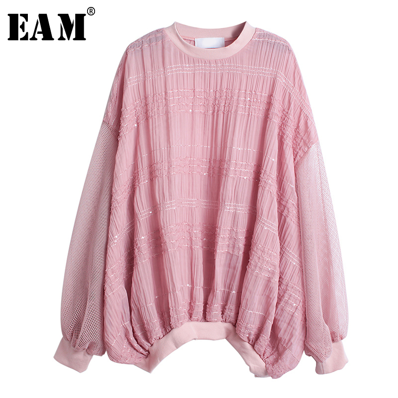 [EAM] Loose Fit Spliced Hollow Out Chiffon Sweatshirt New Round Neck Long Sleeve Women Big Size Fashion Autumn Winter 2019 1A565