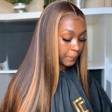 180 плотность 13X4 парики из человеческих волос на сетке спереди, хайлайтер, Омбре, прямой передний парик на сетке, бразильские человеческие во...