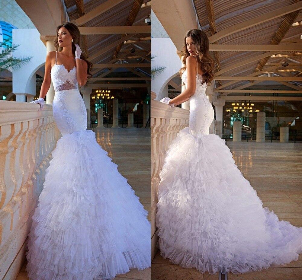 Robes de mariée sirène 2020 pure Vintage dentelle Sexy bretelles grande taille gonflé niveaux Organza jupe plis robes de mariée