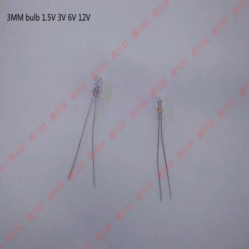 Işıklar ve Aydınlatma'ten Işık Boncukları'de 3mm lamba ampulü 1.5v 3v 6v 12v sıcak sarı açık pirinç ampul camı ampul vurgulamak osram lamba 1000 adet/grup title=