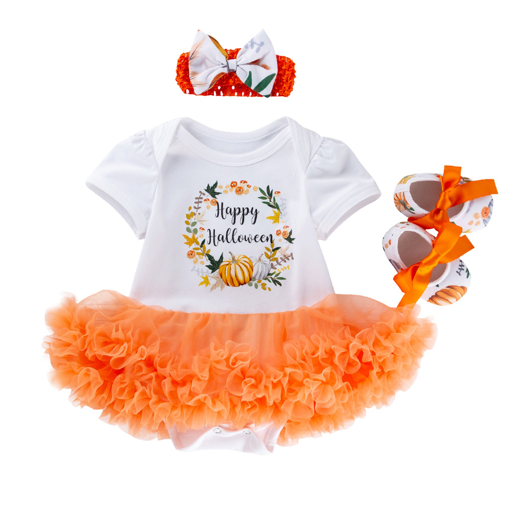 3pcs Infant Baby Girl Happy My First Halloween Romper Tutu Dress Headband Outfit