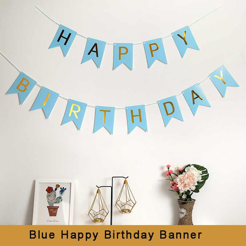Pink/Biru Kertas Selamat Ulang Tahun Spanduk Dekorasi Pesta Ulang Tahun Dewasa 21st 30th 40th 50th 60th Ulang Tahun Photobooth Aksesoris
