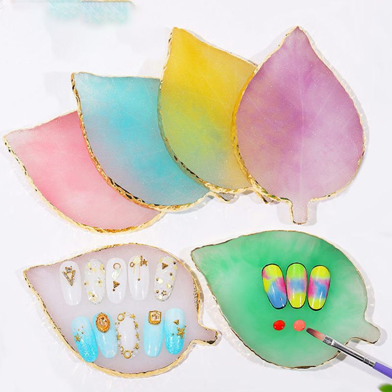 2019 New Leaf Shape Palette Resin Agate Piece Nail Painting Color Tray Jewelry Display Board Tool Photography Props